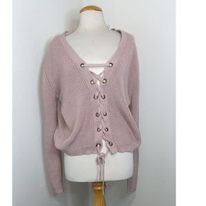 Pink Laced up Sweater Size: 1XL-2L